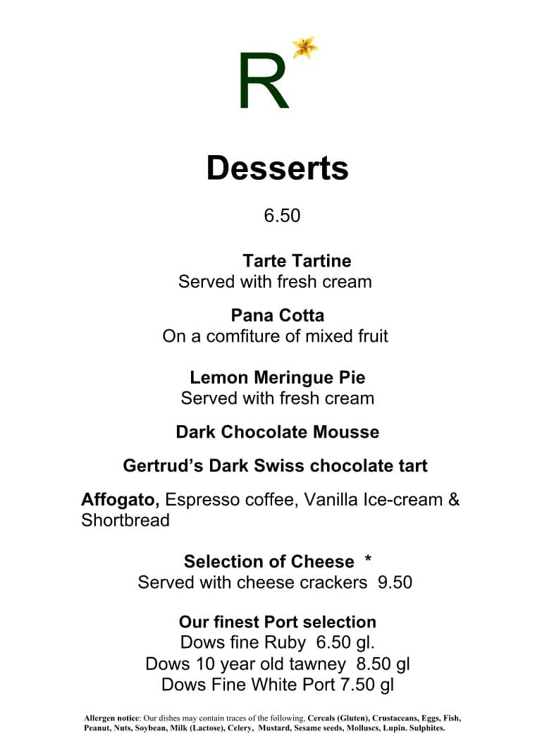 Rolfs 2016 Summer Menu Desserts.